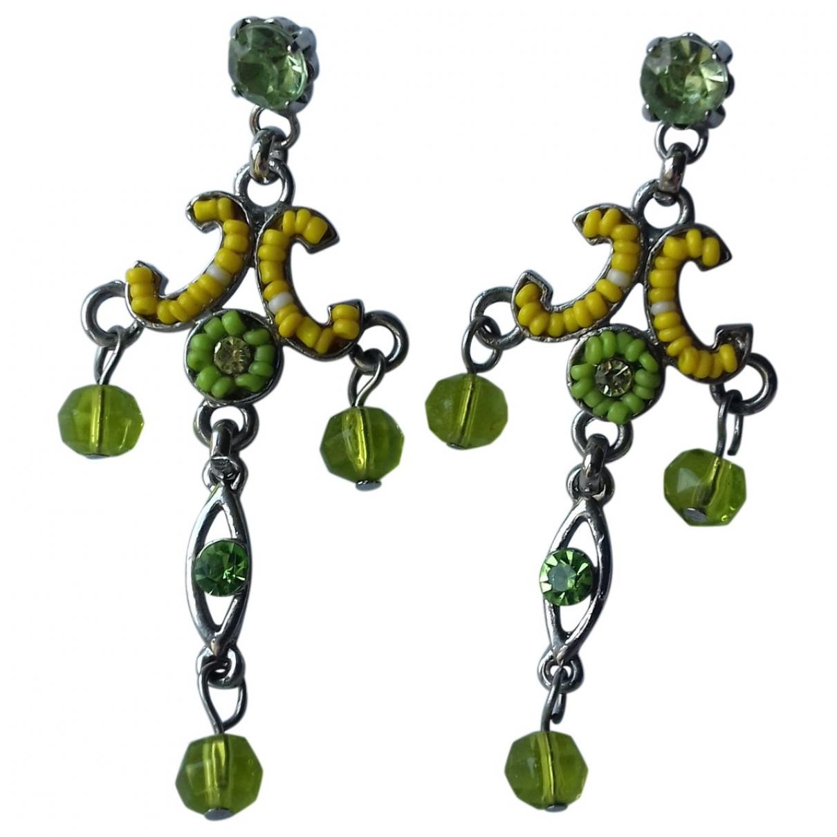 Non Signe / Unsigned Motifs Floraux OhrRing in  Gruen Metall