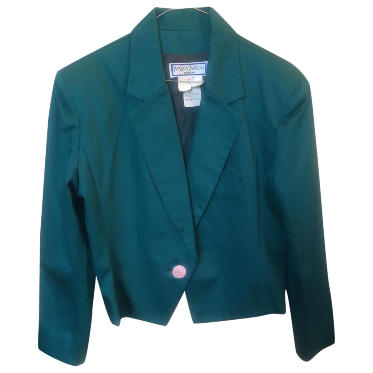 Yves Saint Laurent \N Green Cotton jacket for Women 44 FR