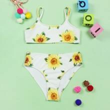 Gerippter Bikini Badeanzug mit Sonnenblumen Muster