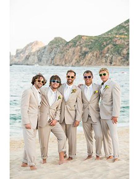 Beach Wedding Attire Suit Menswear Beige 199