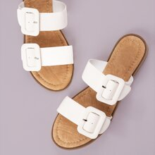 Open Toe Twin Buckle Band Slide Sandals
