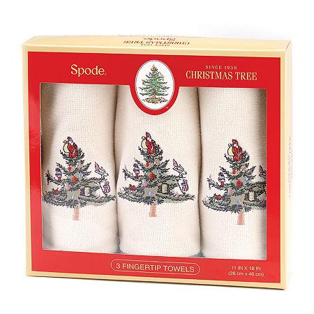 Avanti Spode Christmas Tree Box Set 3-pc. Fingertip Towel, One Size , White