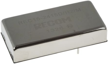 Recom REC15 15W Isolated DC-DC Converter Through Hole, Voltage in 18 → 36 V dc, Voltage out ±15V dc Medical