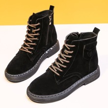 Side Pocket Lace-up Combat Boots