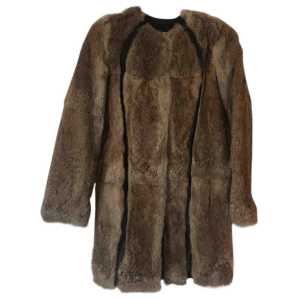 Faith Connexion - Manteau   pour femme en lapin - marron