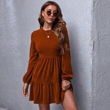 Ruffle Hem Rib-knit Dress