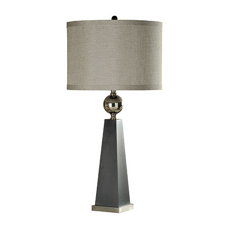 Stylecraft 18 W Gray And Chrome Steel Table Lamp, One Size , Gray