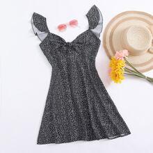 Kleid mit Raffungsaum, Knoten vorn und Bluemchen Muster