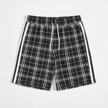 Shorts mit Streifen, Band und Karo Muster