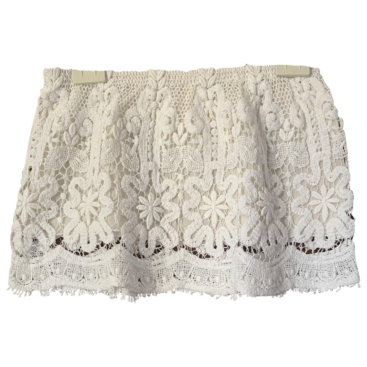Non Signé / Unsigned Hippie Chic White Cotton skirt for Women S International