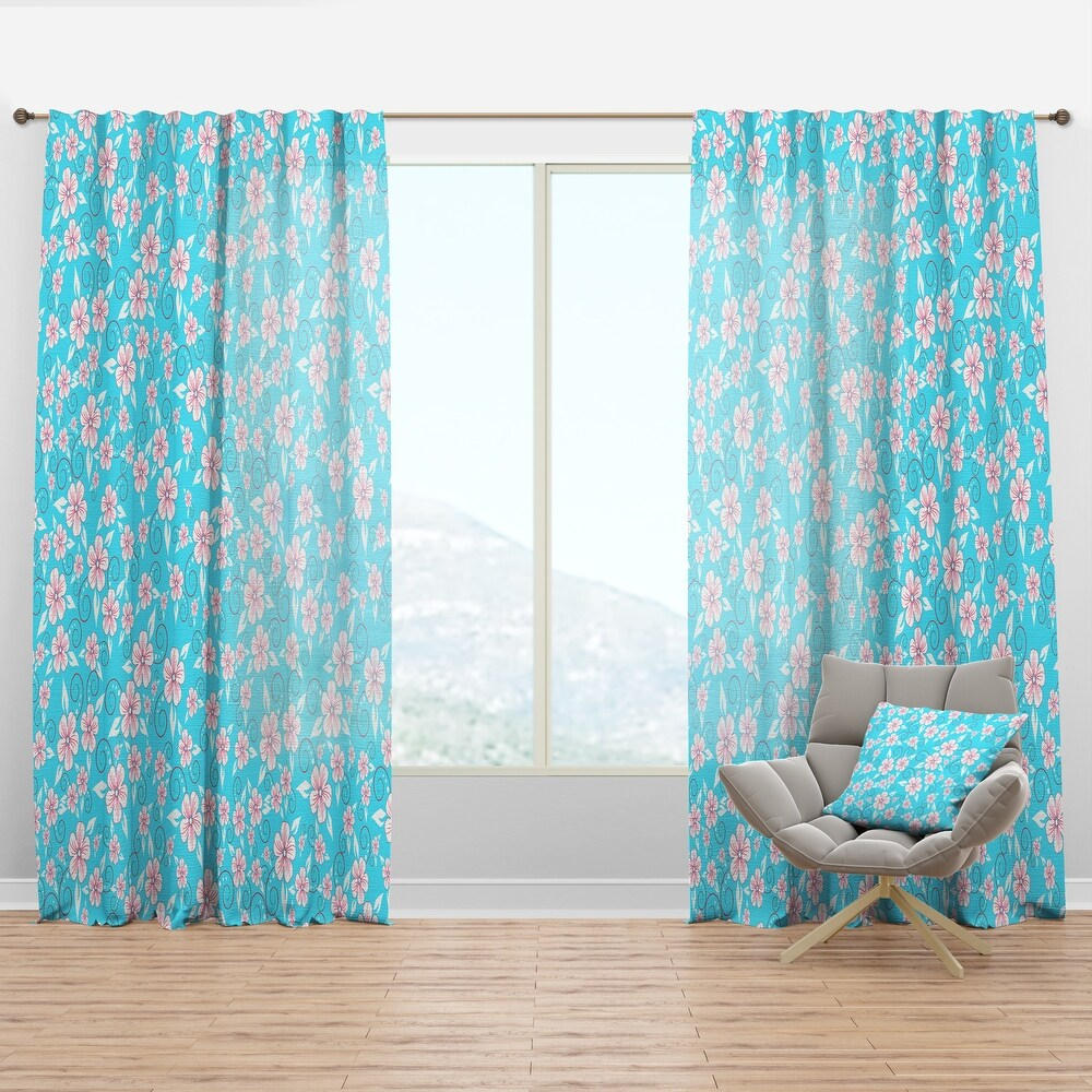 Designart 'Flower Pattern' Modern & Contemporary Curtain Panel (50 in. wide x 63 in. high - 1 Panel)