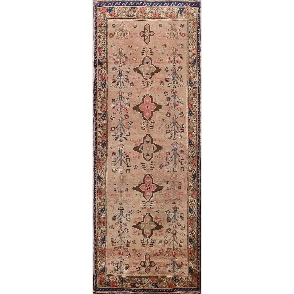 Antique Vegetable Dye Geometric Sultanabad Persian Runner Rug Handmade - 3'9