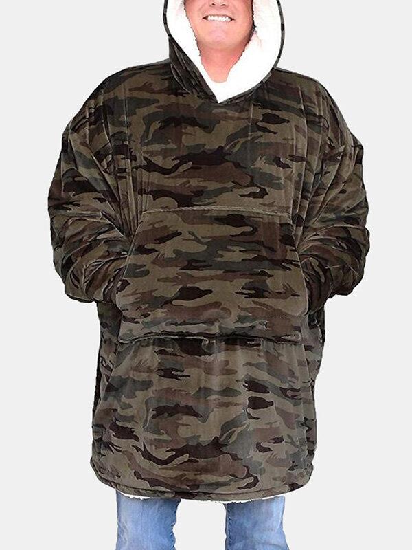 Men Camo Plaid Print Flannel Blanket Hoodies Thicken Sweatshirt Handy Pocket Oversized Homewear
