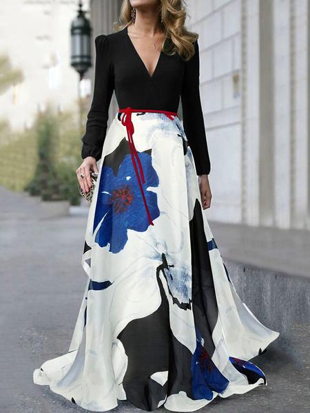 Milanoo Vestido largo floral con cuello en v manga larga Vestido estampado mujer