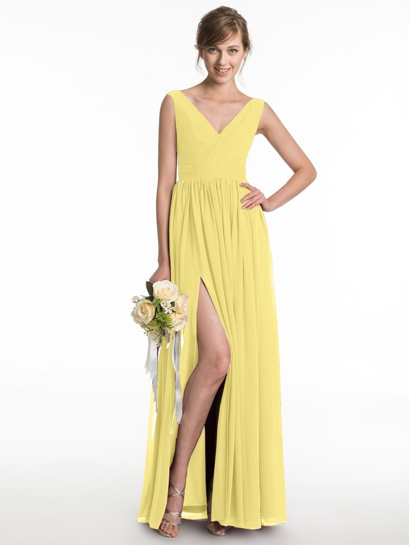 Ericdress Simple V Neck Split Front Bridesmaid Dress