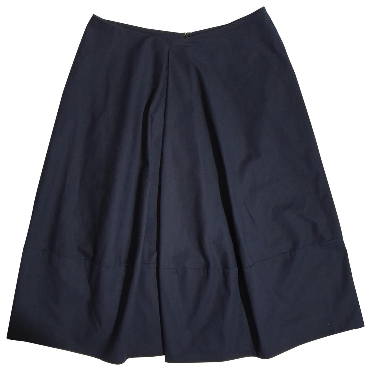 Jil Sander \N Navy Cotton - elasthane skirt for Women 36 FR