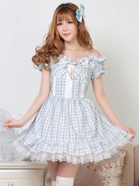 Milanoo Classic Lolita OP Dress Lace Ruffles Light Sky Blue Printed Lolita One Piece Dresses