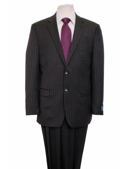 Men's Gray Single Notch Lapel Pinstripe Classic Suit Flat Front Pant