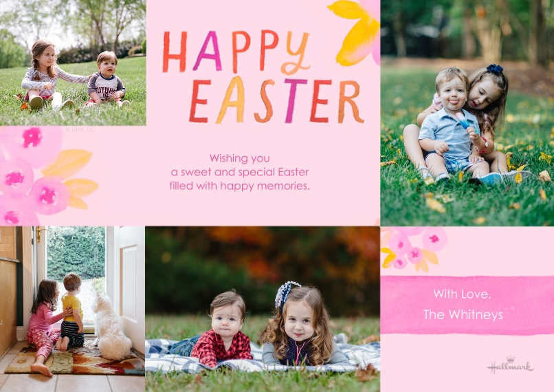 Easter Cards 5x7 Cards, Premium Cardstock 120lb, Card & Stationery -Watercolor Spring Flowers
