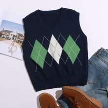 Pulloverweste mit Argyle Muster und V-Kragen