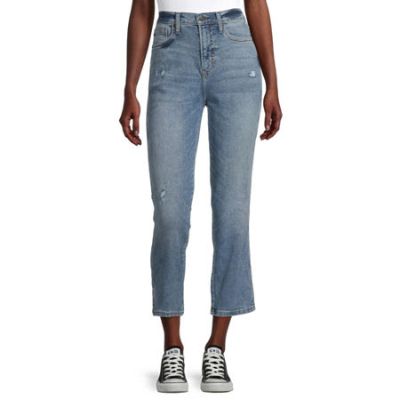 Arizona - Juniors Womens High Rise Straight Leg Jean, 7 , Blue
