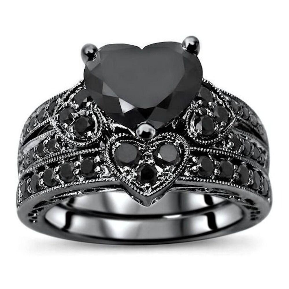 14k Black Rhodium Over White Gold 3 & 1/10ct Black Heart Shape Diamond Engagement Ring Bridal Set (5)