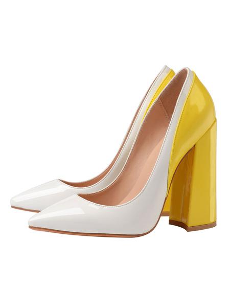 Milanoo Zapatos de tacon alto para mujer Zapatos de punta dorada Bloque de color Chunky Heel Slip-On Zapatos comodos