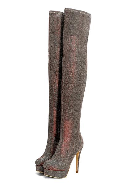 Milanoo Botas sobre la rodilla Botas de invierno con tacon de aguja con punta redonda y lentejuelas verdes para mujer