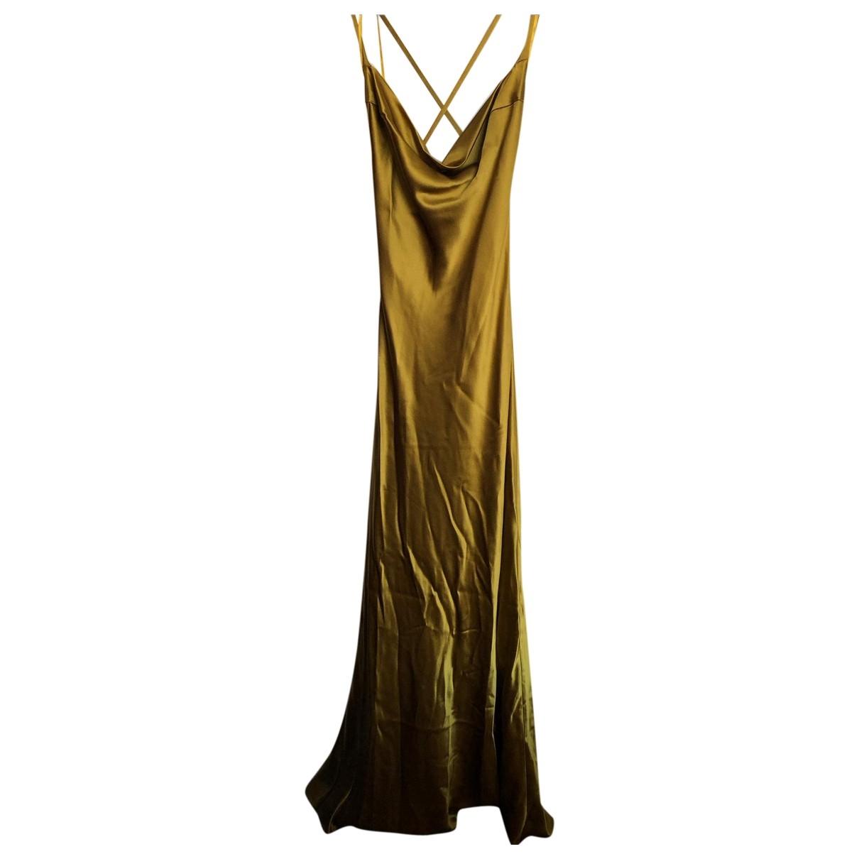 Galvan London \N Gold Silk dress for Women 14 UK