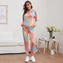 Tie Dye Print Hooded Top & Pants PJ Set