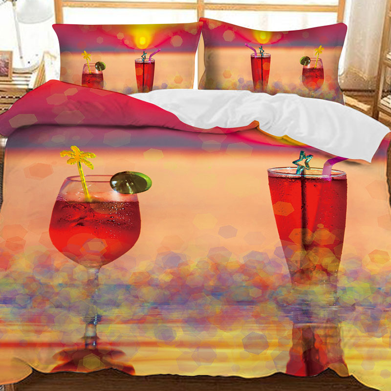 Two Glasses of Red Drinks In Summer Printed Polyester 3-Piece Bedding Sets/Duvet Covers