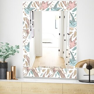 Designart 'Pattern With Swallow Birds and Flowers' Traditional Mirror - Vanity Mirror (23.7 in. wide x 31.5 in. high)
