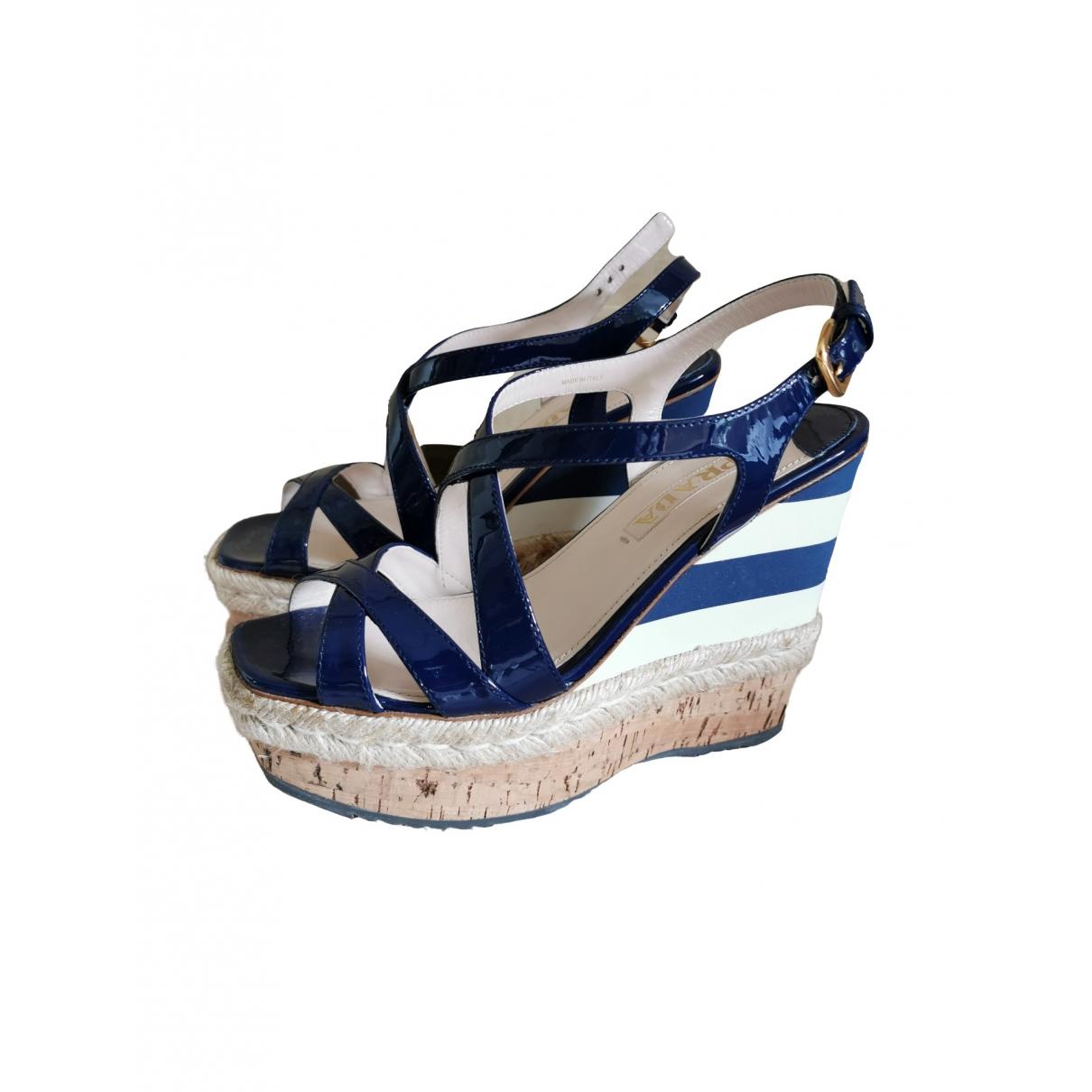 Prada \N Navy Patent leather Sandals for Women 38 EU