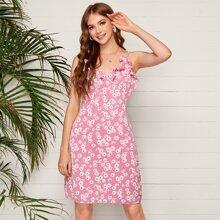 Daisy Print Ruffle Trim Cami Dress