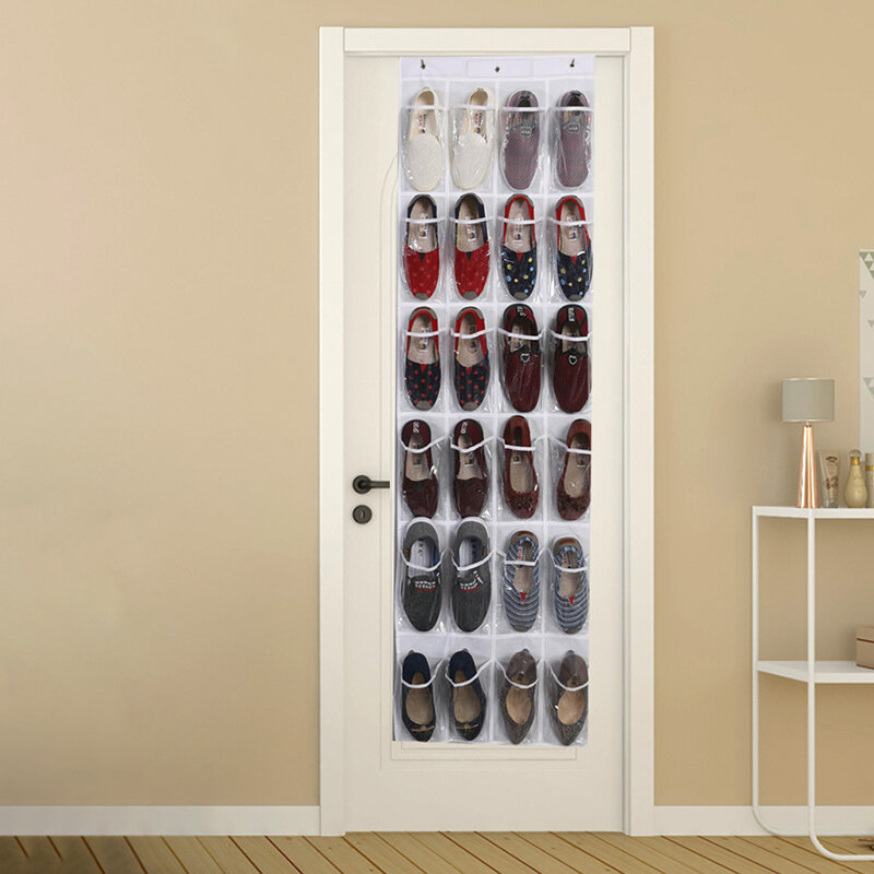 24 Grid Door Behind Shoes Hanging Bag Household Goods Slippers Finishing Bag PVC Wall Hanging Transparent Storage Bag