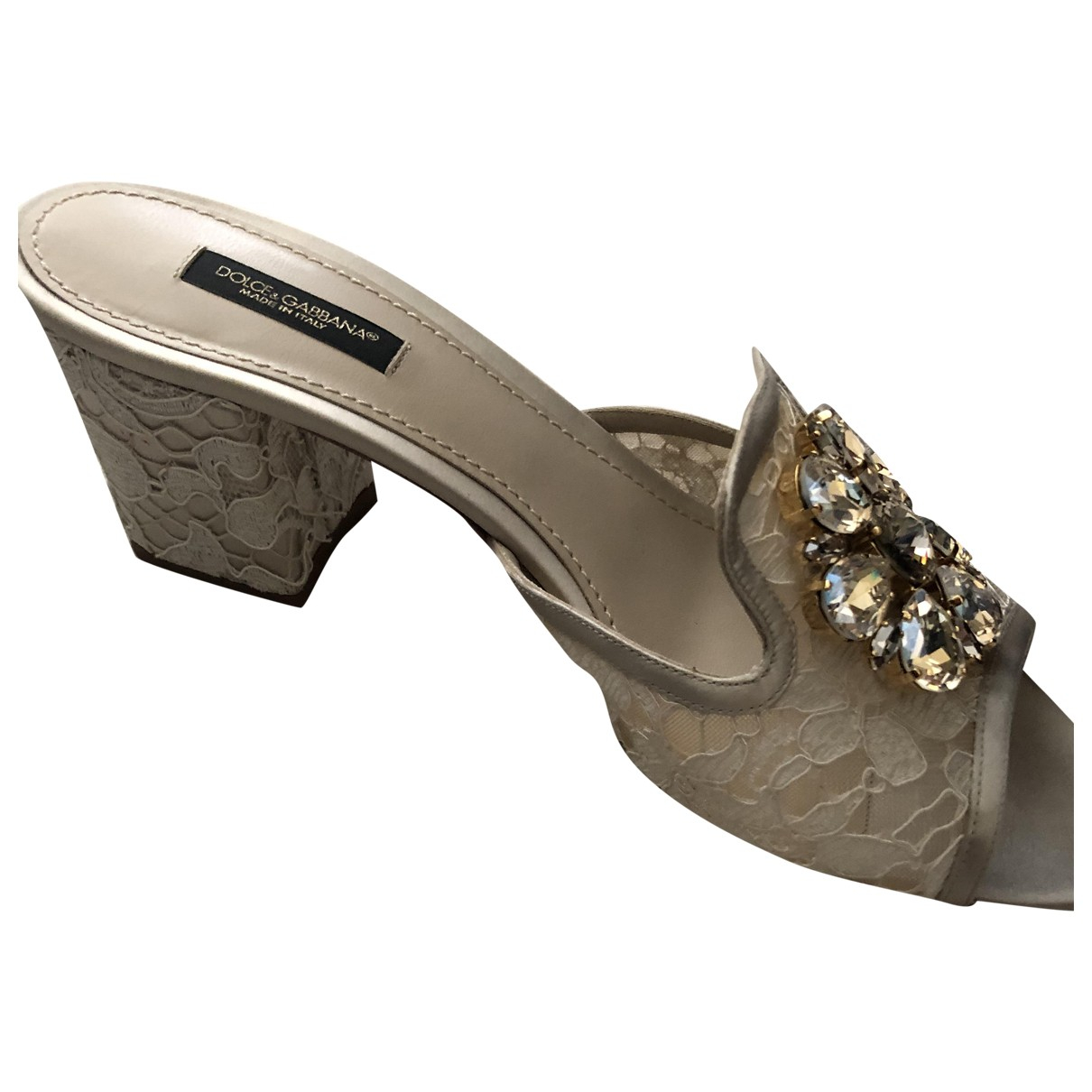 Dolce & Gabbana Taormina Beige Cloth Sandals for Women 39 EU