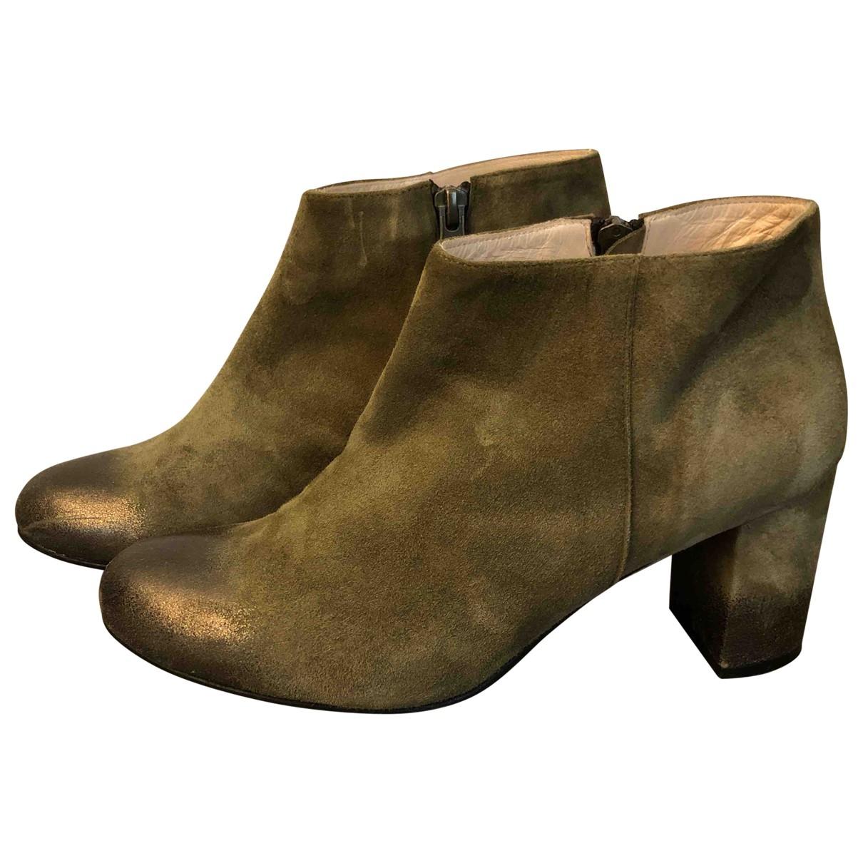 - Boots   pour femme en suede - vert
