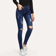 High Waist High Stretch Raw Hem Skinny Jeans