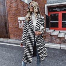 Tweed Mantel mit Hahnentritt Muster, Revers ud Guertel