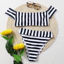 Schulterfreier Bikini Badeanzug mit Streifen und hoher Taille