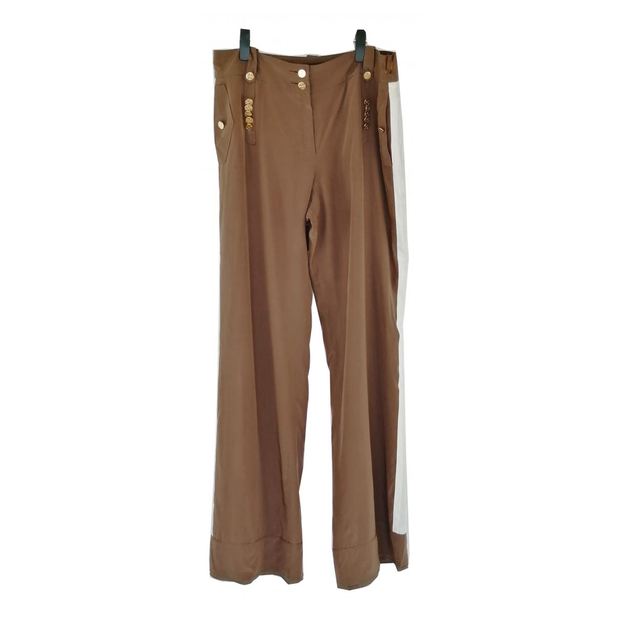 Louis Vuitton N Brown Silk Trousers for Women 40 FR