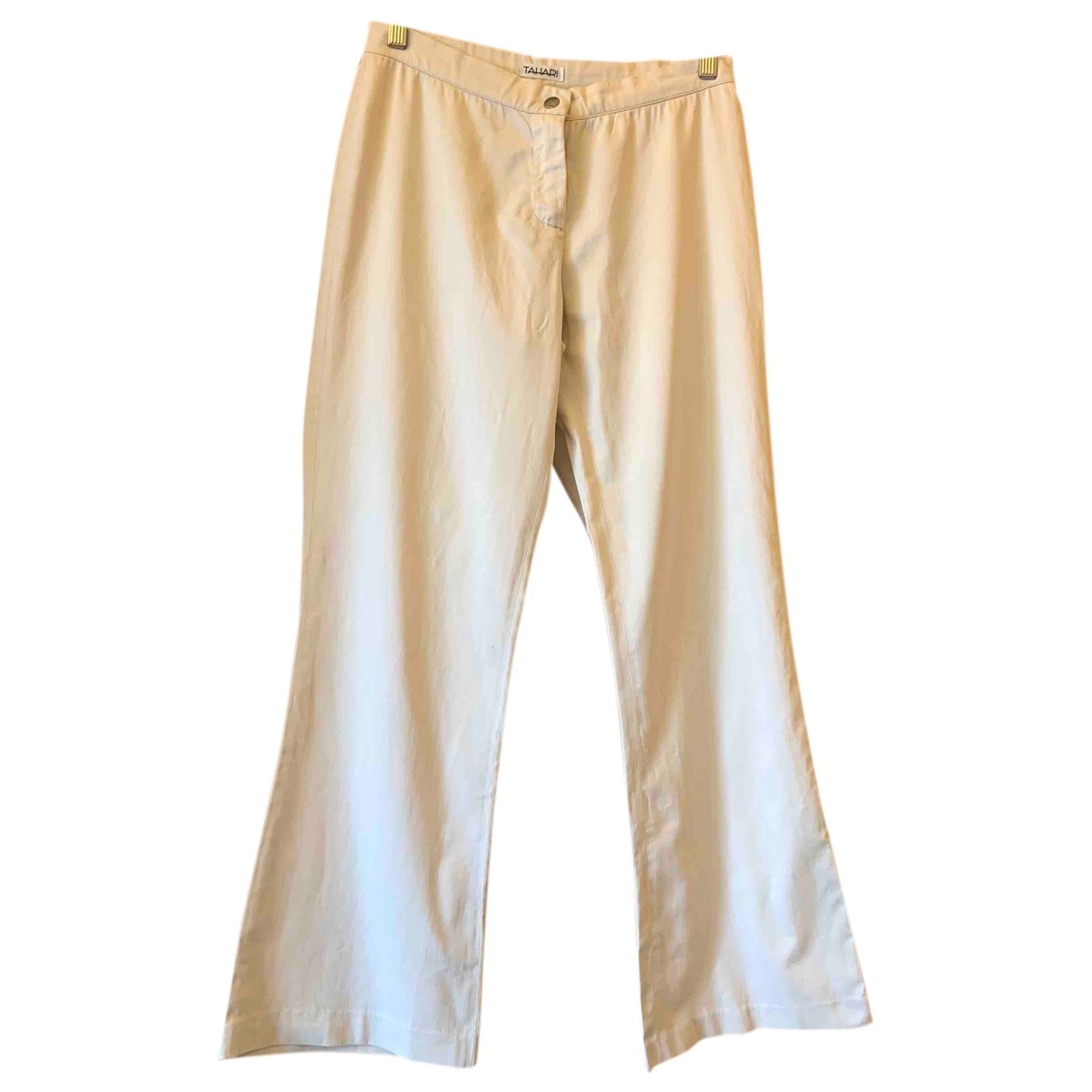 Elie Tahari N Beige Cotton Trousers for Women 10 UK