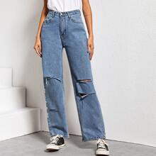 Ripped High Rise Mom Jeans