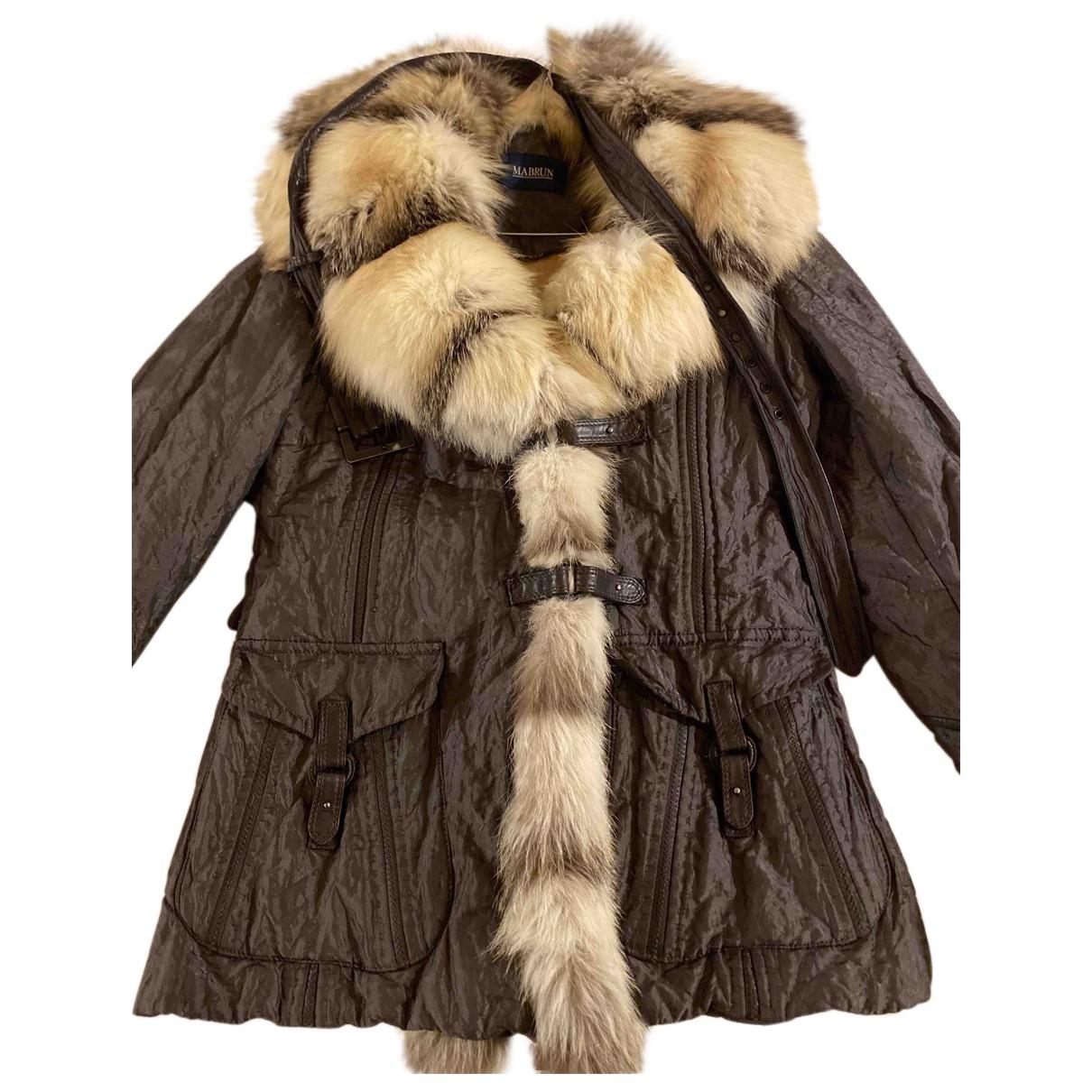 Mabrun - Manteau   pour femme en renard - gris