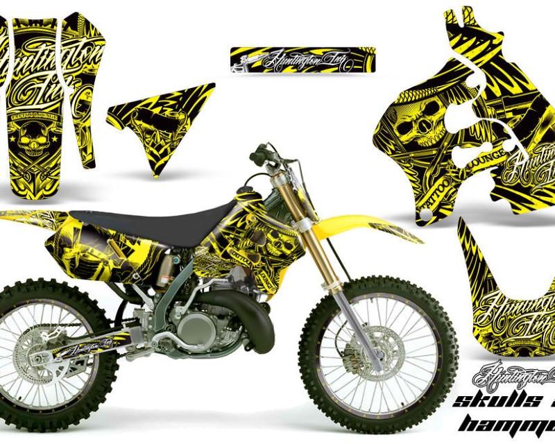 AMR Racing Graphics MX-NP-SUZ-RM125-96-98-HISH Y Kit Decal Sticker Wrap + # Plates For Suzuki RM125 1996-1998 HISH YELLOW