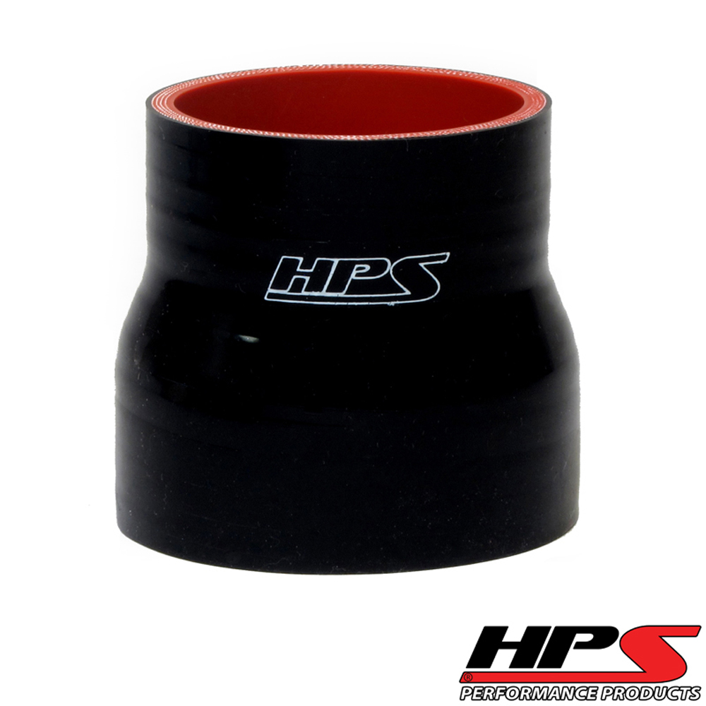 HPS 2 to 2.75inch  (51mm to 70mm) 4-ply Reinforced Reducer Coupler Silicone Hose Black