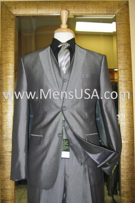 2 Button 3 Piece Silver Shiny Slim Fit Suit