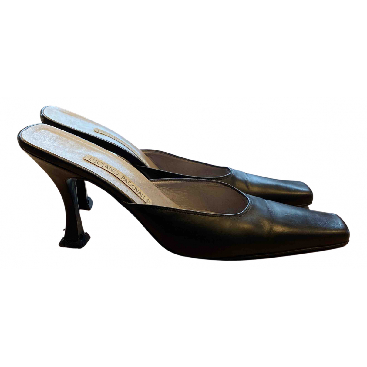 Luciano Padovan N Black Leather Heels for Women 39.5 IT