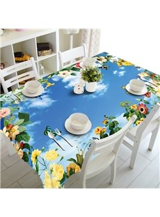 Fresh Blue Sky and Flower Prints Design Home Decorative 3D Tablecloth