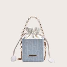 Bolsa cubo con cordon con asa con perla artificial